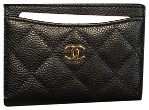 Chanel Chanel Card Case in Black Caviar Leather with Gold Hardware