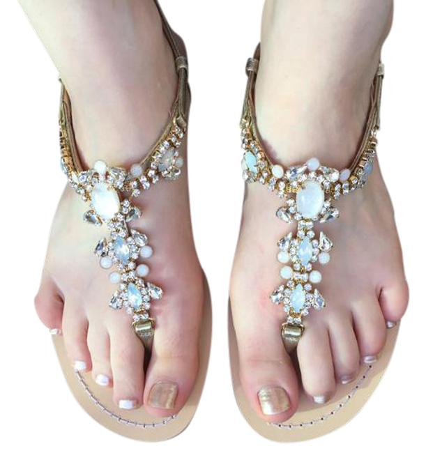 Item - Gold Tulum Sandals Size US 8 Regular (M, B)