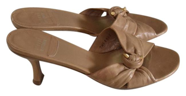 Item - Camel Leather Heeled Sandals Size US 7 Narrow (Aa, N)