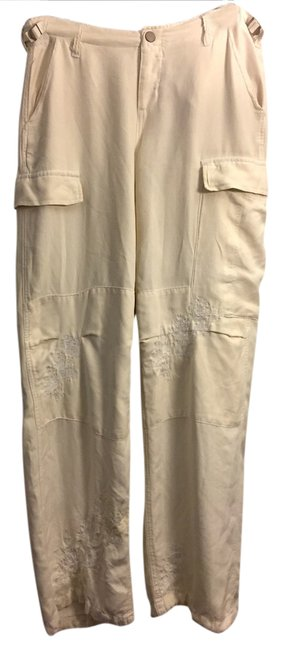 Item - Cream Silk Embroidered/Embellished Pants Size 8 (M, 29, 30)