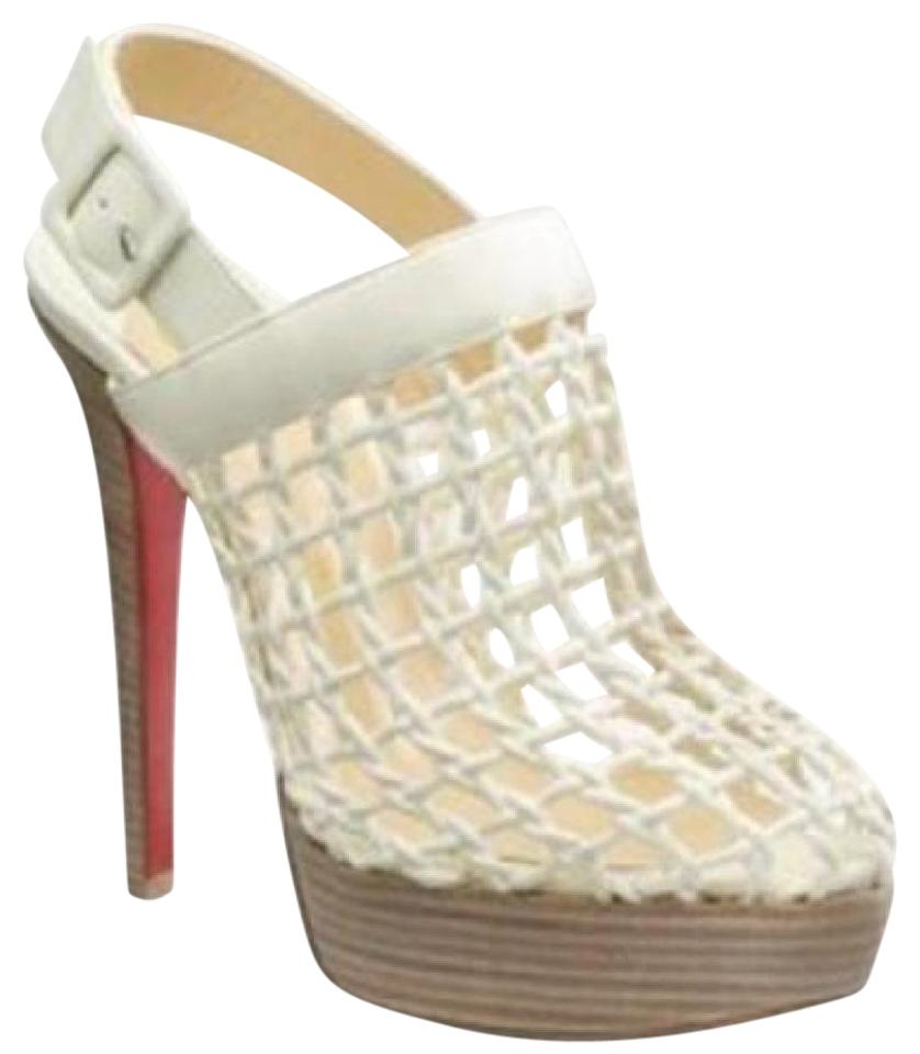 667d8a4b5e1 Christian Louboutin Heels Platform Caged Woven White Sandals Image 0 ...