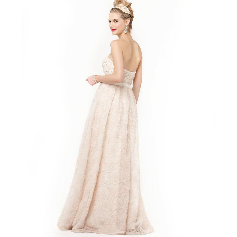 Adrianna Papell Blush Pink Strapless Tulle Rosette Ball Gown Long ...