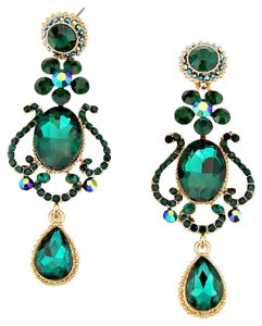 Other Emerald Green Floral Teardrop Rhinestone and Crystal Earrings