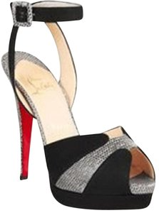 Christian Louboutin Double Moc Lizard Ankle Strap Peep Toe Black Platforms