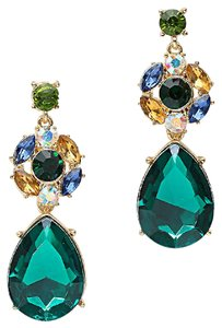 Other Emerald Green Rhinestone and Crystal Floral Earrings