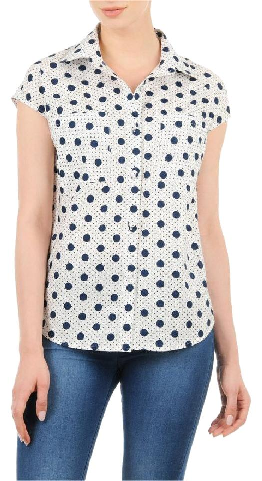 f3a472eb Eshakti Pinup Retro Polka Dot Rare Sold Out Button Down Shirt white and  navy Image 0 ...