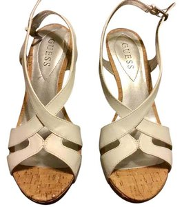 Guess Leather Cork Strappy Sandals White Wedges