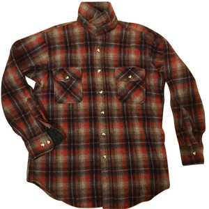 St. John Button Down Shirt Red, blue, and grey
