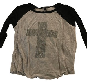 Forever 21 Pink Chanel Gucci T Shirt Grey and black Baseball Tee