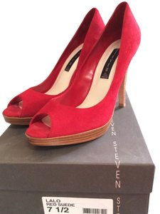 ALDO Sassy Red Suede Peep Toe Pumps