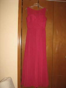 Mori Lee Magenta Red Polyester None Feminine Bridesmaid/Mob Dress Size 8 (M)
