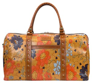 Patricia Nash Designs Travel Weekender Extra-large Leather Exotic Island Gold Floral Travel Bag