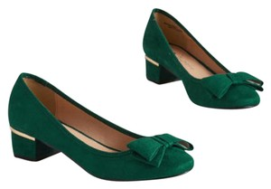 Chinese Laundry Green Mid-heel Bow Faux Suede Forest Green Flats