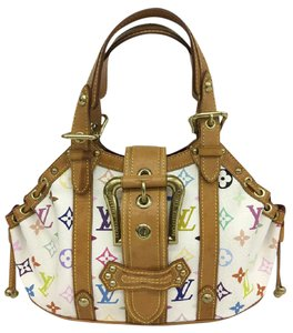 Louis Vuitton Lv Monogram Multicolor Gm Theda Satchel in White