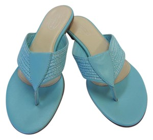 Talbots Size 8.50 M Leather Soles Very Good Condition Turquoise Flats