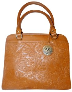 Versace 19.69 Embellished Faux Leather Luxury Classic Retro Satchel in Tan