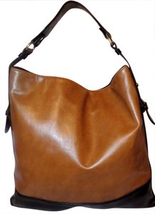 Express Bright Bold Color-blocking Classic Satchel in Tan & Black