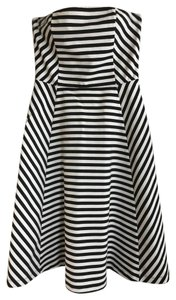 Express short dress Black and white striped Strapless on Tradesy