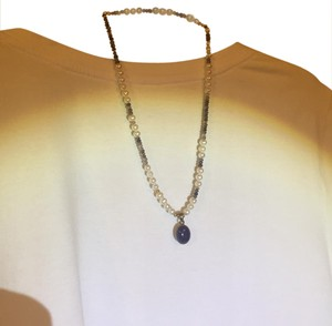Other Freshwater pearl necklace with sapphire pendant