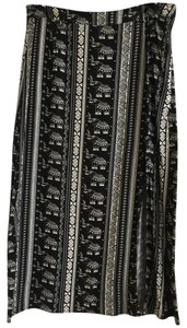 H&M Elephant Maxi Skirt Black and white