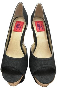 TRH Chunky Cork Blue Denim Pumps
