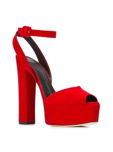 Giuseppe Zanotti Red Suede Sandals