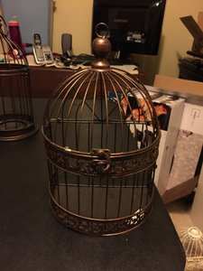Bronze Bird Cage With Hinge Lid