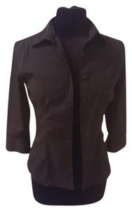 Express 3/4 Sleeve Work Casual Button Down Shirt Black