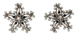 Oscar de la Renta Pearl Encrusted Silver Starfish Button Clip-on Earrings