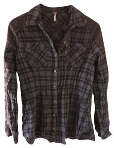 Free People Flannel Metal Buttons Princess Seams Button Down Shirt Grey