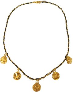 Chanel CHANEL LEATHER-CHAIN GOLD CHARM NECKLACE/CHOKER