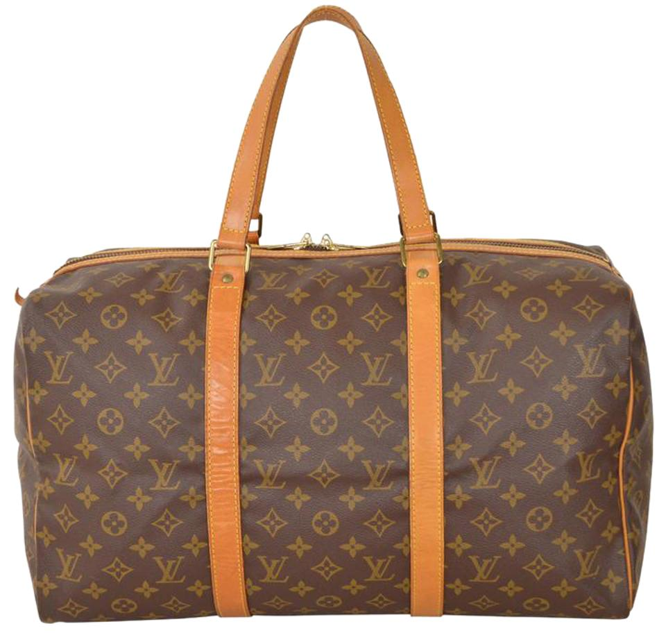 0c8bf9ee32ef Louis Vuitton Sac Souple Duffle Monogram 45 Carry On M41624 Brown Leather   Coated  Canvas Weekend Travel Bag