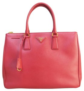 Prada Saffiano Lux Large Double Zip Tote in red