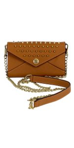 Rebecca Minkoff Mini Tan Leather Gold Studded Cross Body Bag