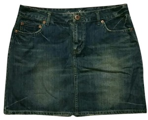 American Eagle Outfitters Jean Denim Distressed Casual Mini Skirt