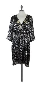Trina Turk short dress Metallic Silver Black Print on Tradesy