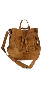 Kooba Tan Leather Snakeskin Textured Bucket Shoulder Bag
