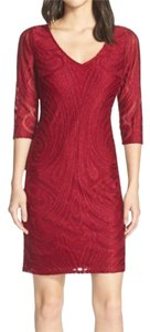 Julia Jordan 3/4 Sleeve Lace V-neck Dress