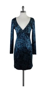 Nicole Miller short dress Blue Floral Print Silk on Tradesy