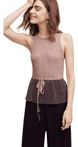 Anthropologie Moth Sleeveless Metallic Peplum Sweater