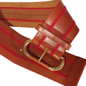 Dior Christian Dior red threaded leather wide fashion belt designer