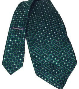 Tiffany & Co. Tiffany and Co vintage green silk men's unisex necktie