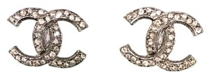 Chanel BN Auth Chanel CC Classic Strass Logo Earrings