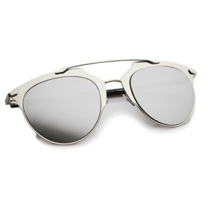 Retro Aviator Pantos Aviator Silver Mirrored Sunglasses