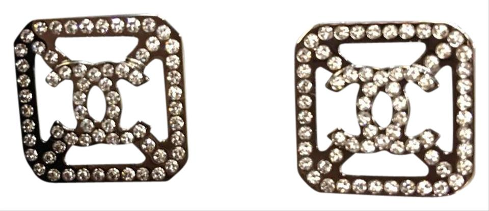 Chanel Rose Gold 2017 Logo Stud With Crystals Earrings