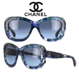 Chanel Chanel Square Blue Multi Color Tweed Sunglasses