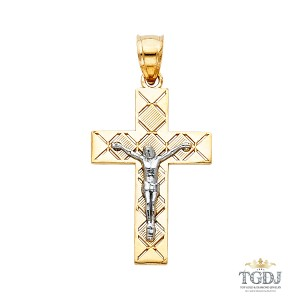 Top Gold & Diamond Jewelry Jesus Crucifix Cross Religious Pendant,