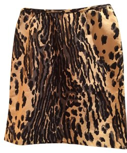 Trina Turk Mini Skirt Multi Animal Print Neutrals
