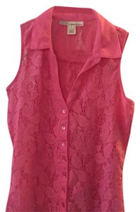 Derek Heart Button Down Shirt Coral Pink