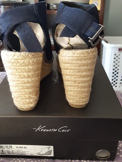 Kenneth Cole Suede New Sandals Navy Platforms